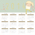Free Calendar For 2014 With Cheerful Girl. Stock Photo - 35829050