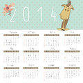 Free Calendar For 2014 With Cute Horse. Royalty Free Stock Photo - 35829055