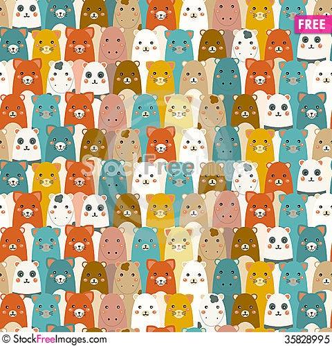 Free Seamless Pattern With Cartoon Animals Royalty Free Stock Photo - 35828995