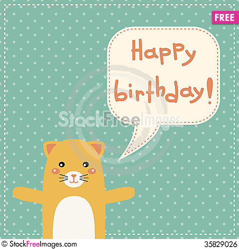 Cute happy birthday card with fun cat free stock images photos cute happy birthday card with fun cat bookmarktalkfo Images