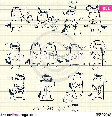 Free Zodiac Icon Set. Horoscope With Horses. Royalty Free Stock Photos - 35829048