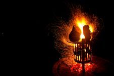 Free Golden Sparks Round A Campfire In Africa Royalty Free Stock Images - 35821979