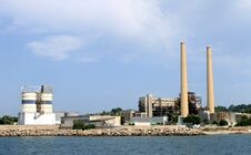 Free Industrial Factory With Tall Chimney Stock Image - 35824831