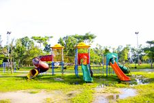 Free Playground Park On Grass Near School Is Children Stock Photography - 35826622