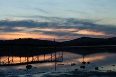 Lake Sunset Reflections Stock Photo