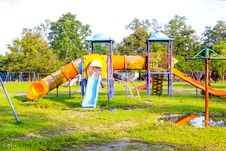 Free Playground Park On Grass Near School Is Children Stock Photo - 35826900