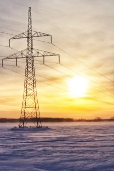 Free Power Grid Against A Sunset Royalty Free Stock Image - 35828396