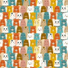 Seamless Pattern With Cartoon Animals Royalty Free Stock Photo