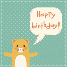 Cute Happy Birthday Card With Fun Cat. Royalty Free Stock Image