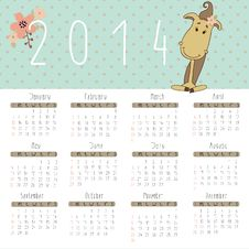 Calendar For 2014 With Cute Horse. Royalty Free Stock Photo