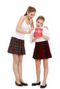 Free Portrait Of Sisters With A Gift Box Royalty Free Stock Photography - 35838597