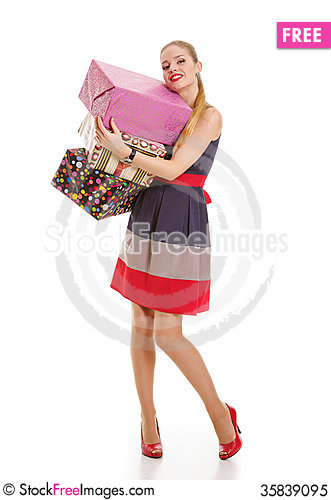 Free Girl With A Gift Box On A White Background Royalty Free Stock Photo - 35839095