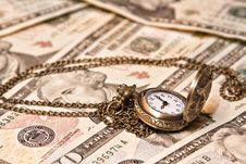 Free Pocket Watch Lie On Dollars Stock Photography - 35831462