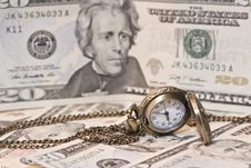 Free Pocket Watch Lie On Dollars Royalty Free Stock Photos - 35831538