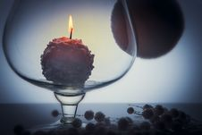 Free Snowball Candle Burning Inside Glass Goblet Stock Image - 35834621