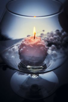 Free Burning Candle In Glass Goblet Royalty Free Stock Images - 35834629