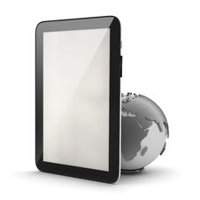 Tablet Computer And Earth Globe Stock Images