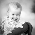 Free Happy Baby Laughing And Smiling Monochrome Stock Images - 35846264