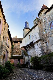 Medieval Cobles, Turrets And Towers, Saint Benoit Du Sault, Indre France Royalty Free Stock Photo