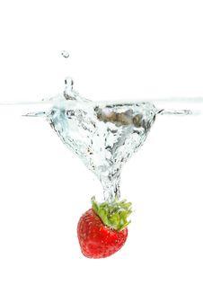 Free Splashing Strawberry Stock Photo - 35847180