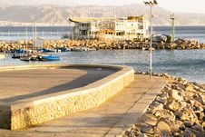 Free Popular Israeli Resort Eilat. Quay. Sunset. Stock Photography - 35848032