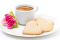 Free Cup Of Coffee, Cookies And Flower Valentine&x27;s Day, Close-up Royalty Free Stock Photos - 35856258