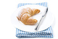 Free Fresh Croissant And A Knife On A Plate Isolated Royalty Free Stock Photos - 35856358