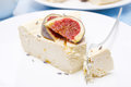 Free Piese Of Cheesecake With Honey And Lavender And Fresh Figs Stock Image - 35856461