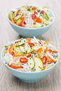 Free Two Bowls Of Thai Salad With Vegetables, Rice Noodle And Chicken Stock Photos - 35856503
