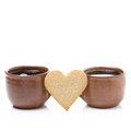 Free Two Cups Of Coffee And Cookies In The Shape Of Heart Royalty Free Stock Image - 35856506