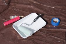 Free House Painting Supplies On A Paint Tarp Royalty Free Stock Photography - 35851347