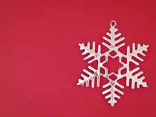 Free Sliver Snowflake On Red Stock Photography - 35853852