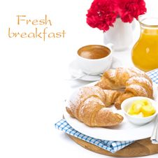 Breakfast - Croissants With Butter, Espresso And Orange Juice Royalty Free Stock Images