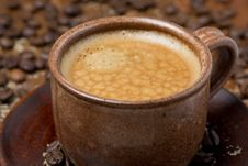 Free Cup Of Black Coffee With Foam, Close-up, Selective Focus Stock Image - 35856231