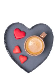 Cup Of Coffee And Candy On A Tray In The Form Of Heart, Isolated Royalty Free Stock Image