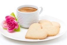Free Cup Of Coffee, Cookies And Flower Valentine S Day, Close-up Royalty Free Stock Photos - 35856258