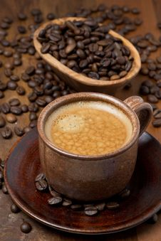 Cup Of Espresso And Coffee Beans Royalty Free Stock Photo