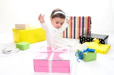 Free Baby Girl With Gifts Royalty Free Stock Image - 35858466