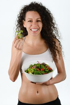Beautiful Young Mixed Woman With Salad, Isolated On White Stock Photography