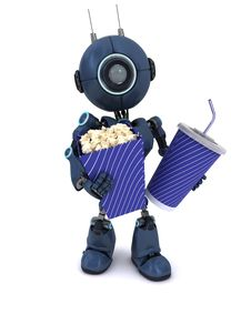 Android With Popcorn And Soda Royalty Free Stock Photo