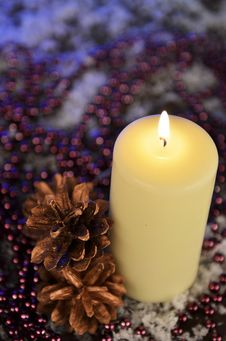 Free Composition Of A Christmas Candle, Cones And Beads Royalty Free Stock Photos - 35862268