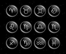 Zodiac Signs Glassy Vector Collection Stock Image