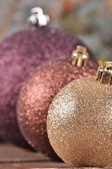 Free Christmas Balls  On Wooden Background Stock Photo - 35862630