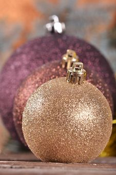 Free Christmas Balls  On Wooden Background Royalty Free Stock Image - 35862696