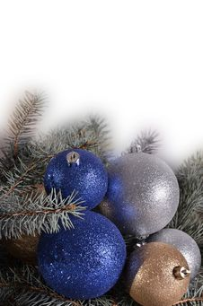 Christmas Balls And Needles On A White Background Stock Photos