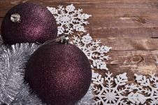Free Christmas Balls  On Wooden Background Royalty Free Stock Photo - 35863025
