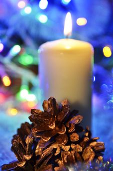 Free Christmas Candle And Cones Stock Image - 35863101