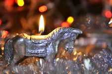 Free New Year`s Candle In The Form Of A Horse Stock Images - 35863284