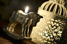 Free New Year`s Candle In The Form Of A Horse Stock Photos - 35863323