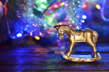 New Year`s Candle In The Form Of A Horse Royalty Free Stock Photo